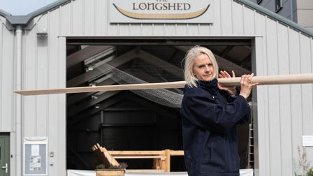 Project Manager for The Sutton Hoo Ship and captain of Woodbridge Rowing Club, Jacq Barnard with one