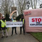 Union recognition protest against Amazon staged at St Mary-atte-Stratford church in the Bow Road