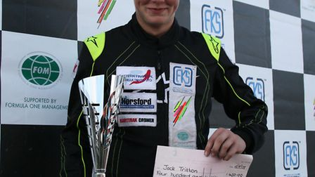 Jack Tritton celebrating his first podium finish this season with a second spot at Three Sisters nea