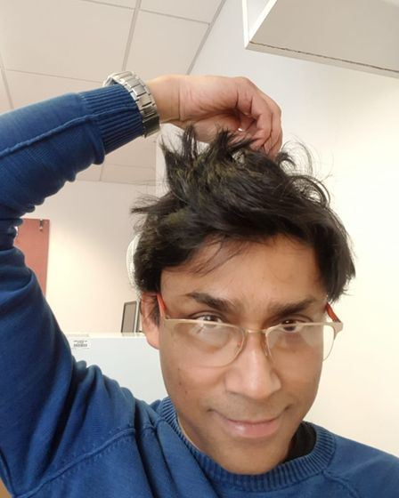 Dr Deb Ghosh before his head shave challenge