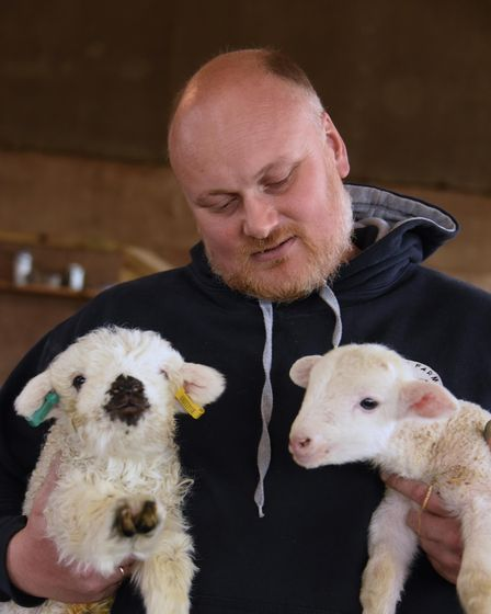 Livestock manager Daniel Holliday with two rare-breed orphan lambs atChurch Farm, Stow Bardolph