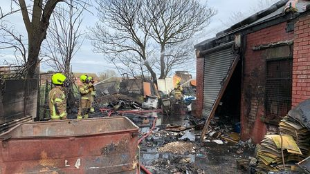 Firefighters hosing down the blaze at Knock Road in Clacton, Essex