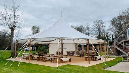 The Lion Brasserie in East Bergholt has had a tipi installed in its gardens, with heaters and flowers