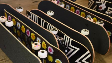 Some of Sam Avery's skateboards in the disused St Peter Parmentergate church in King Street. Picture