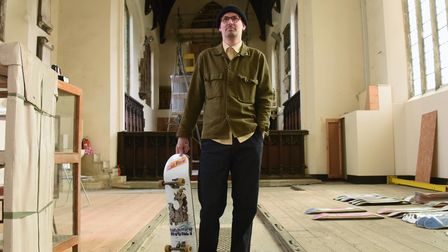 Sam Avery in the disused St Peter Parmentergate church in King Street, where he is moving his Drug S