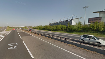The collision has happened on the A12 near Colchester United's stadium