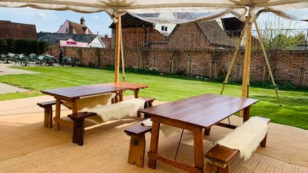 The outside dining spaces available at The Lion Brasserie in East Bergholt.