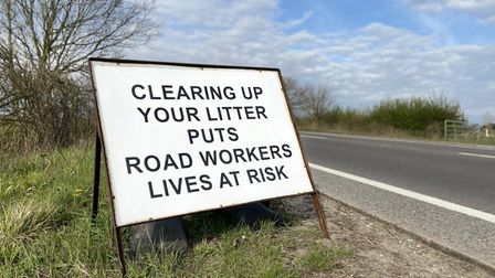 Signs were put up along the A134 to make people aware of the risk of littering