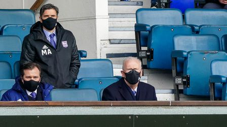 Ipswich chairman Mike OLeary looks on from the front row of the directors box.