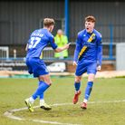 Sonny Carey wheels away after giving King's Lynn Town the lead against Chesterfield