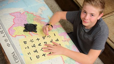Oliver Coe, 14, who has just passed his GCSE in Chinese Mandarin with A*.Picture by SIMON FINLAY.