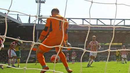 Jack Butland was disappointed to let this Russell Martin effort through his legs. Picture: PAUL CHES