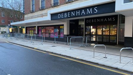 Barriers at Debenhams in Norwich ahead of its closing down sale