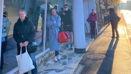 Members of Atrium Fitness in Ely queueing in -2⁰c on Mondaymorning.