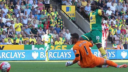 Norwich City striker Cameron Jerome guided a shot wide against Stoke City's Jack Butland. Picture by