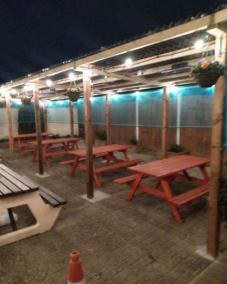 The new outdoor seating area at The Eastbrook pub.