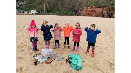 Exmouth youngstersAmber, Florence, Bea, Emily, Isabel and Jacob after a beach clean