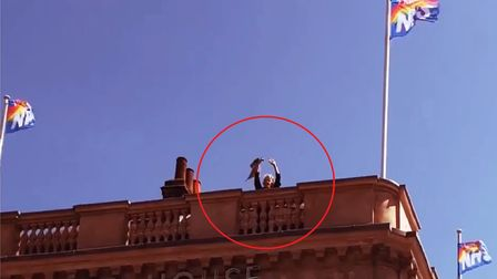 Height of the pandemic... when Pauline hoisted NHS tribute flag on roof of The George Tavern during Lockdown