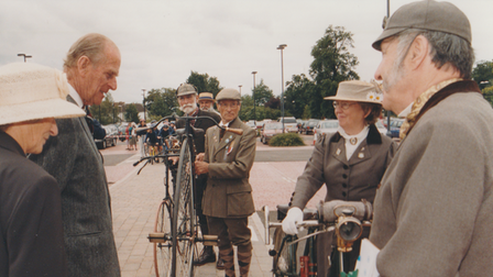The Duke of Edinburgh meets members of The March Veteran and Vintage Cycle Club
