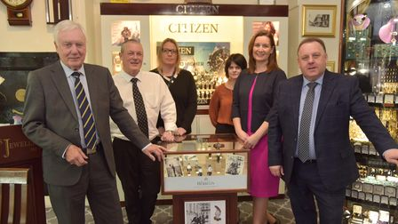 John Andrews celebrates 50 years of his business Andrews Jewellers in Ipswich.Pictured are the sta