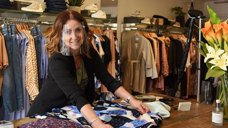 Mandy Baird who is very happy to reopen her shop Scarlet in St Giles Street, as Covid restrictions a
