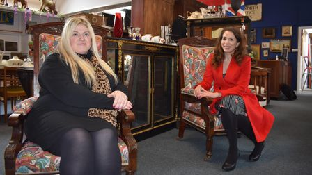 Owner, Teresa Potts (left) and BBC Antiques Road Trip's Stephanie Connell (right)