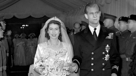 Princess Elizabeth and the Duke of Edinburgh (formerly Lt Philip Mountbatten, RN) as they leave West