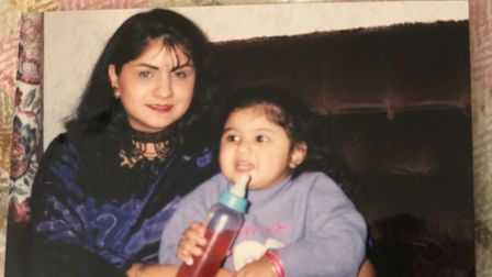 Neepy as a baby with mother Ramesh