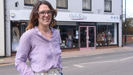 Shop owner Sandie Chivers at her brand new shop in Fakenham, Style and Joy Bridal and Suit Boutique.