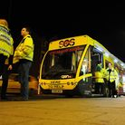 SOS Bus on Prince of Wales Road, Norwich on a Saturday night.