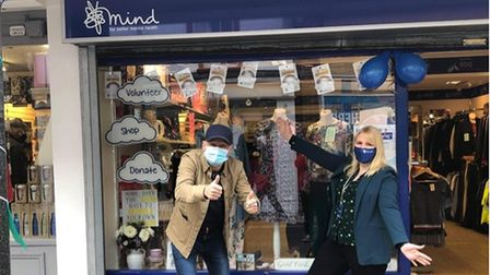 Ben Langley with Sylvia Merriott, manager of the Mind charity shop in Diss, on its April 12 reopening in 2021.