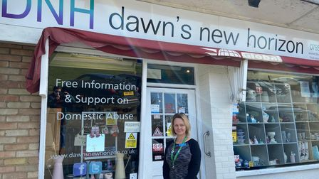 Lorraine Curston, founder of Dawn's New Horizon domestic abuse support group, outside its charity shop in Sprowston.