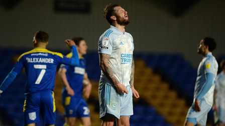 James Norwood voices his frustrations after missing a chance against AFC Wimbledon
