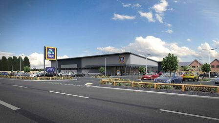 Artists impression of the proposed Aldi store for Eastrea Road, in Whittlesey.