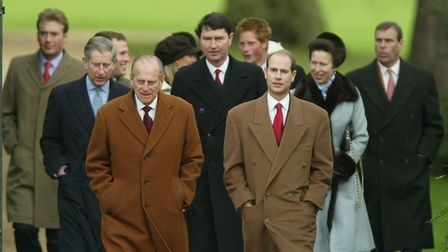 Members of Britain's Royal Family, Prince Charles (2nd Left), Prince Philip (3 Left), Commander Tim