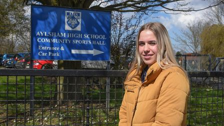 Community hero Sophie Baker, aged 16, who is raising money for charity by running after one of the t