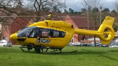 East Anglian Air Ambulance landed in Wymondham on Thursday morning responding to a medical emergency.