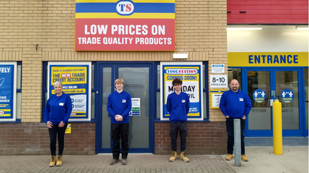 Staff on the opening day of the new Toolstation branch in Wymondham.