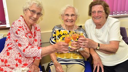 The Good Companions Club at Easton celebrating its 60th anniversary. Members, left to right, Peggy W