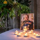 Tributes to Prince Philip, the Duke of Edinburgh, at Norwich Cathedral.
