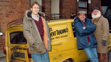 ONLY FOOLS AND HORSES FILMING IN IPSWICH NOVEMBER 1987FROM LEFT, NICHOLAS LYNDHURST, DAVID JASON