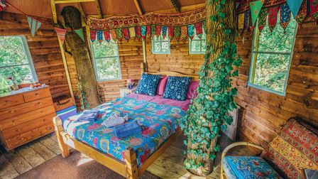 Spend the night in a beautiful wooden treehouse