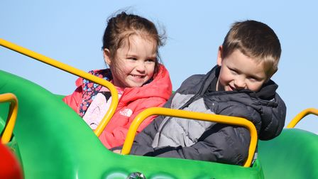 Fun on the Go Gater ride for Sumayah Simpson, four, and Jaylen Charlton, seven, at the Funderworld T