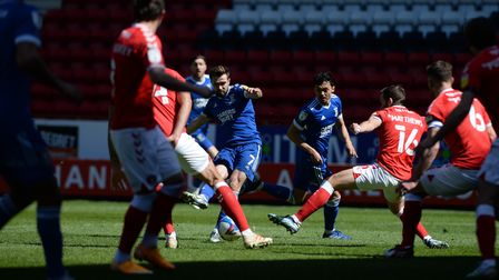 Gwion Edwards shoots during the second half at Charlton Athletic