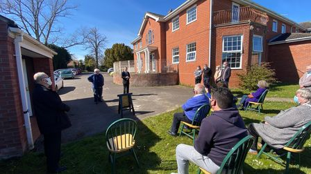Men's shed members at the Grange care home