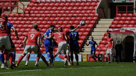 James Norwood with an early headed chance at Charlton Athletic