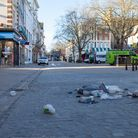 Some of the rubbish left behind after a busy Saturday night in Norwich.