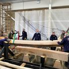 Volunteers welcomed the keel at The Longshed in Woodbridge, which is a key moment in the build.