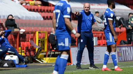 Ipswich Manager Paul Cook during the second half at Charlton Athletic