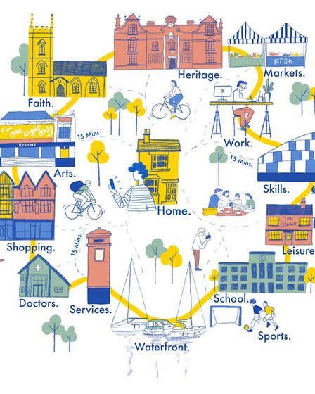 Illustration of Ipswich Town centre